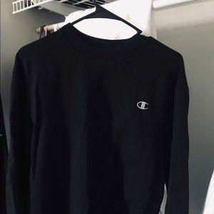 Champion Black Logo Crew Sweatshirt